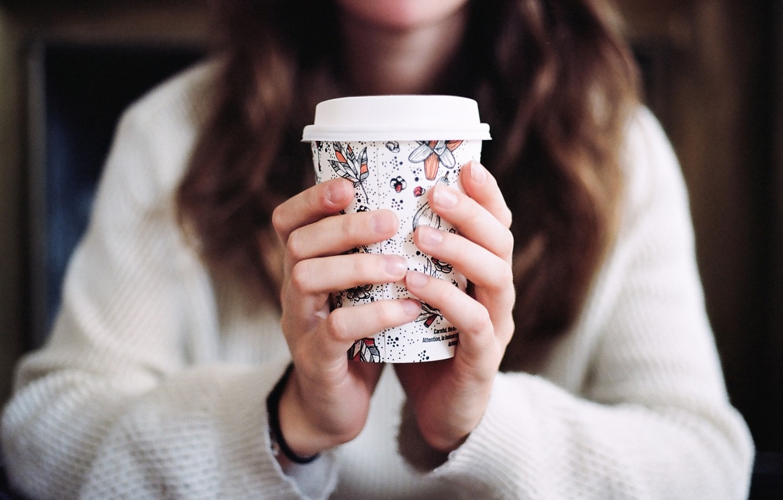 Photo wallpaper girl, coffee, Cup