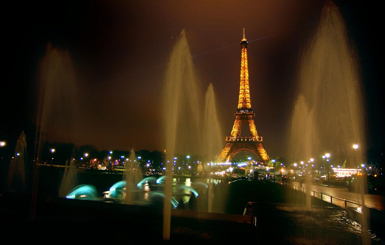Photo wallpaper night, lights, tower, Paris, France, fountains, Eiffel