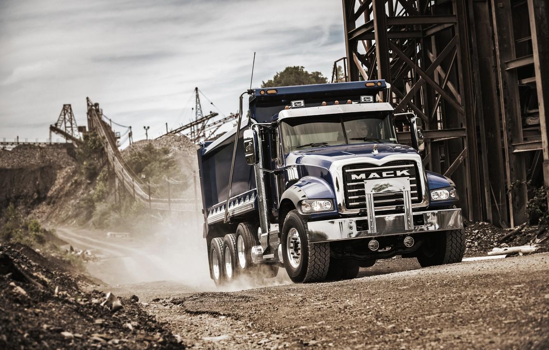 Photo wallpaper truck, quarry, Mack, Granite
