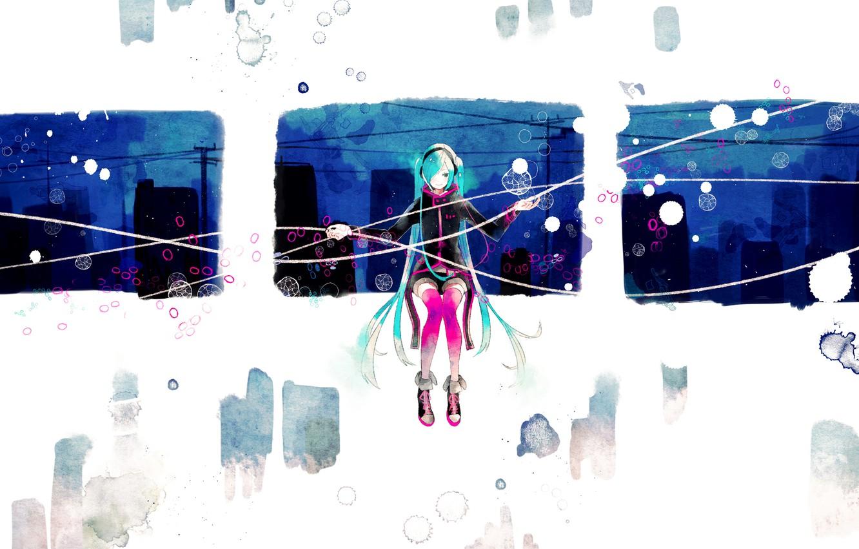 Photo wallpaper girl, abstraction, the city, anime, headphones, art, vocaloid, hatsune miku, vient