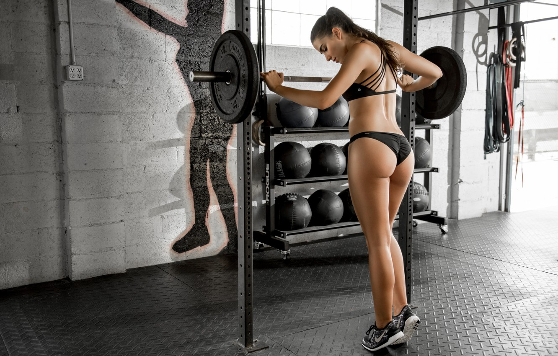 Photo wallpaper face, body, sports, beauty, fitness, sneakers, rod, press, the gym, Dani