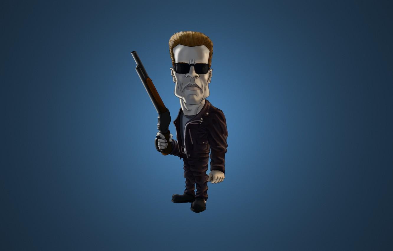 Photo wallpaper blue, the dark background, weapons, minimalism, glasses, Arnold Schwarzenegger, Terminator, Arnold Schwarzenegger, The Terminator