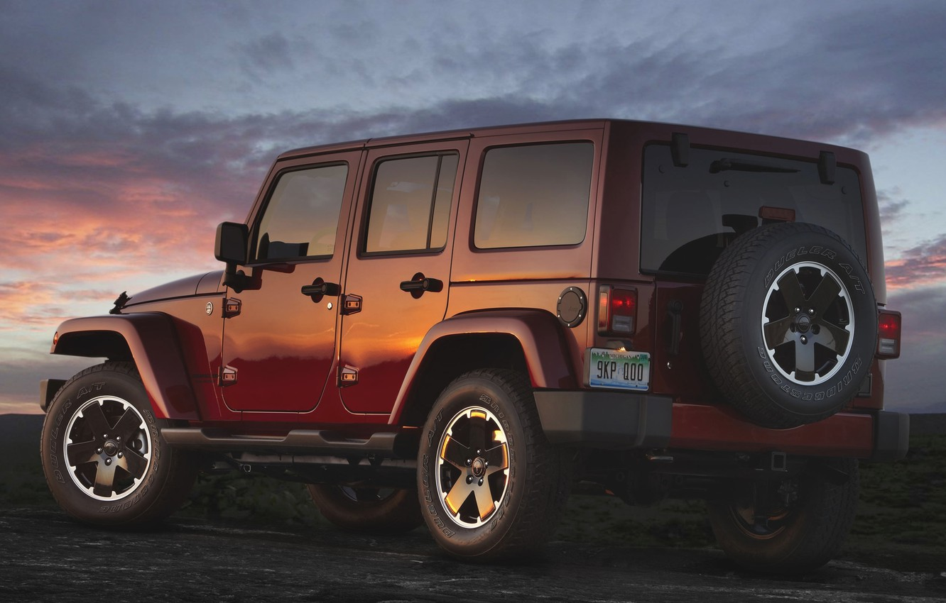 Photo wallpaper Sunset, The sky, Wheel, Machine, Jeep, Jeep, Unlimited, Wranger, Altitude