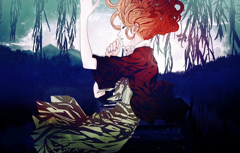 Photo wallpaper trees, lake, the reeds, sleep, red, Amnesia, Heroine, amnesia