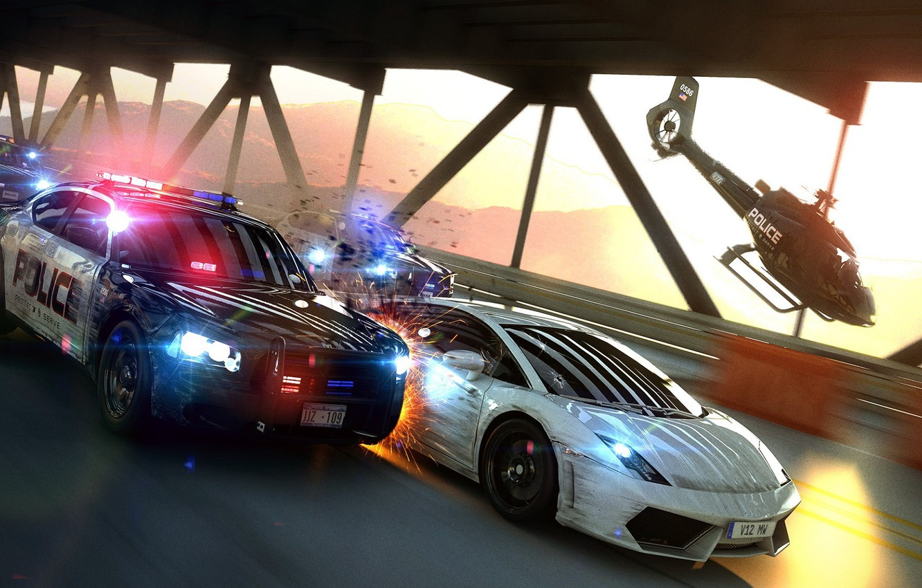 Photo wallpaper Lamborghini, Helicopter, Sparks, Chase, Gallardo, Police, Supercar, Helicopter, Pursuit, Supercar, Police, LP560-4, Sparks