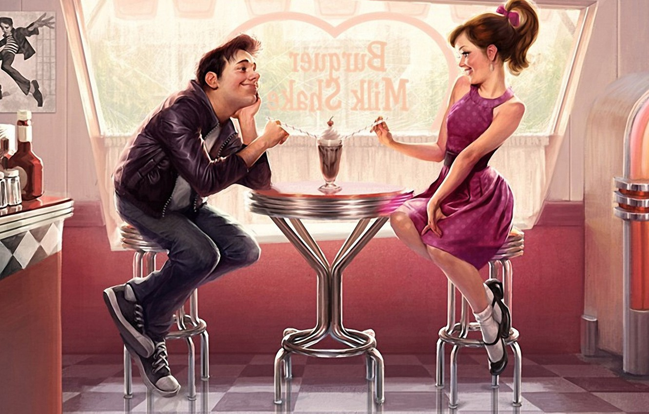 Photo wallpaper look, girl, love, table, romance, woman, feelings, dress, cocktail, cafe, restaurant, male, date, picture, flirting, …