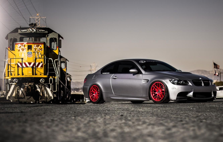 Photo wallpaper bmw, BMW, train, silver, red, drives, train, e92, silvery