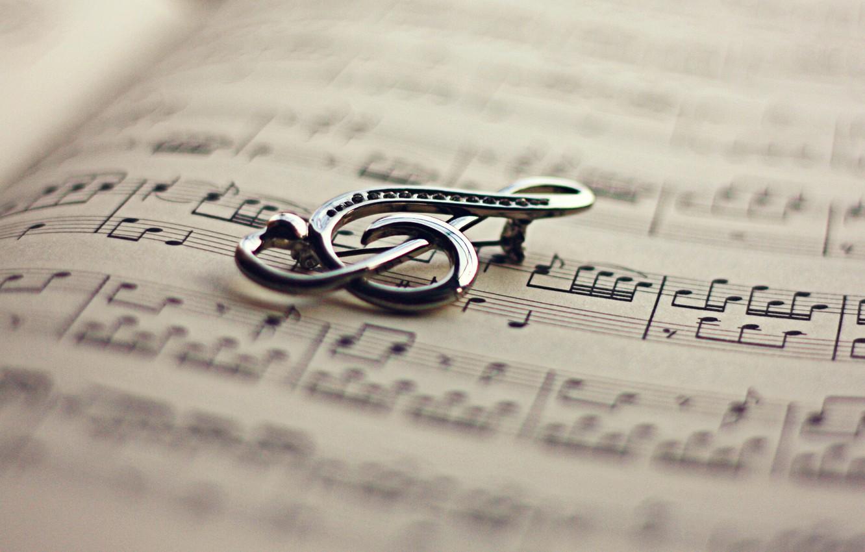 Photo wallpaper notes, key, book, violin