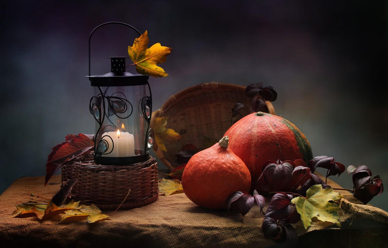 Photo wallpaper autumn, leaves, candle, pumpkin