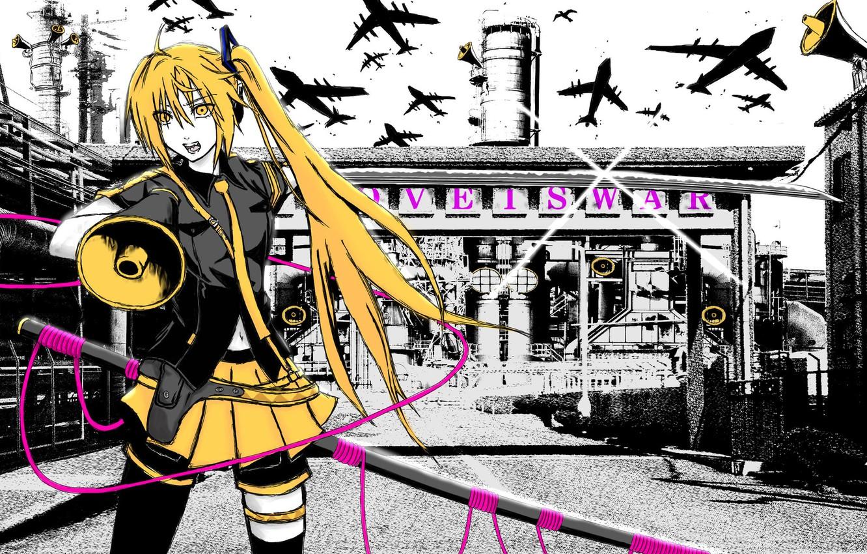 Photo wallpaper pipe, plant, katana, tie, microphone, vocaloid, Hatsune Miku, Vocaloid, holster, aircraft, yellow hair