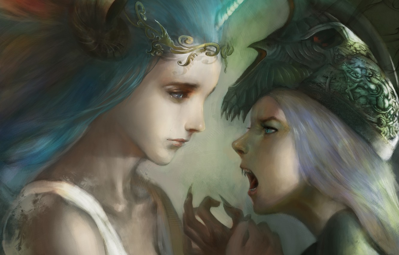 Photo wallpaper sadness, emotions, girls, anger, hands, fantasy, fangs, demoness, sisters, horn