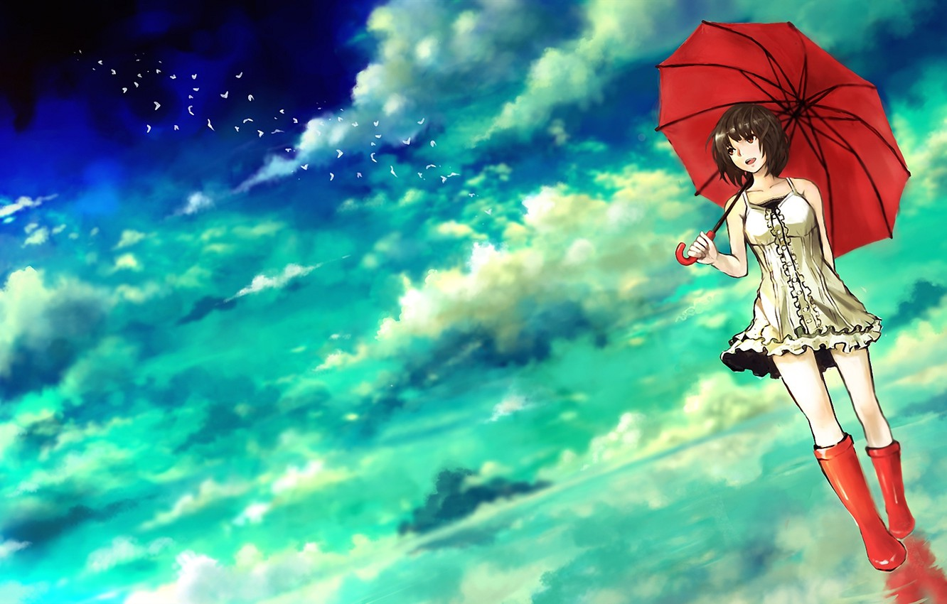 Photo wallpaper water, clouds, birds, umbrella, boots, umbrella, art, girl, seafh