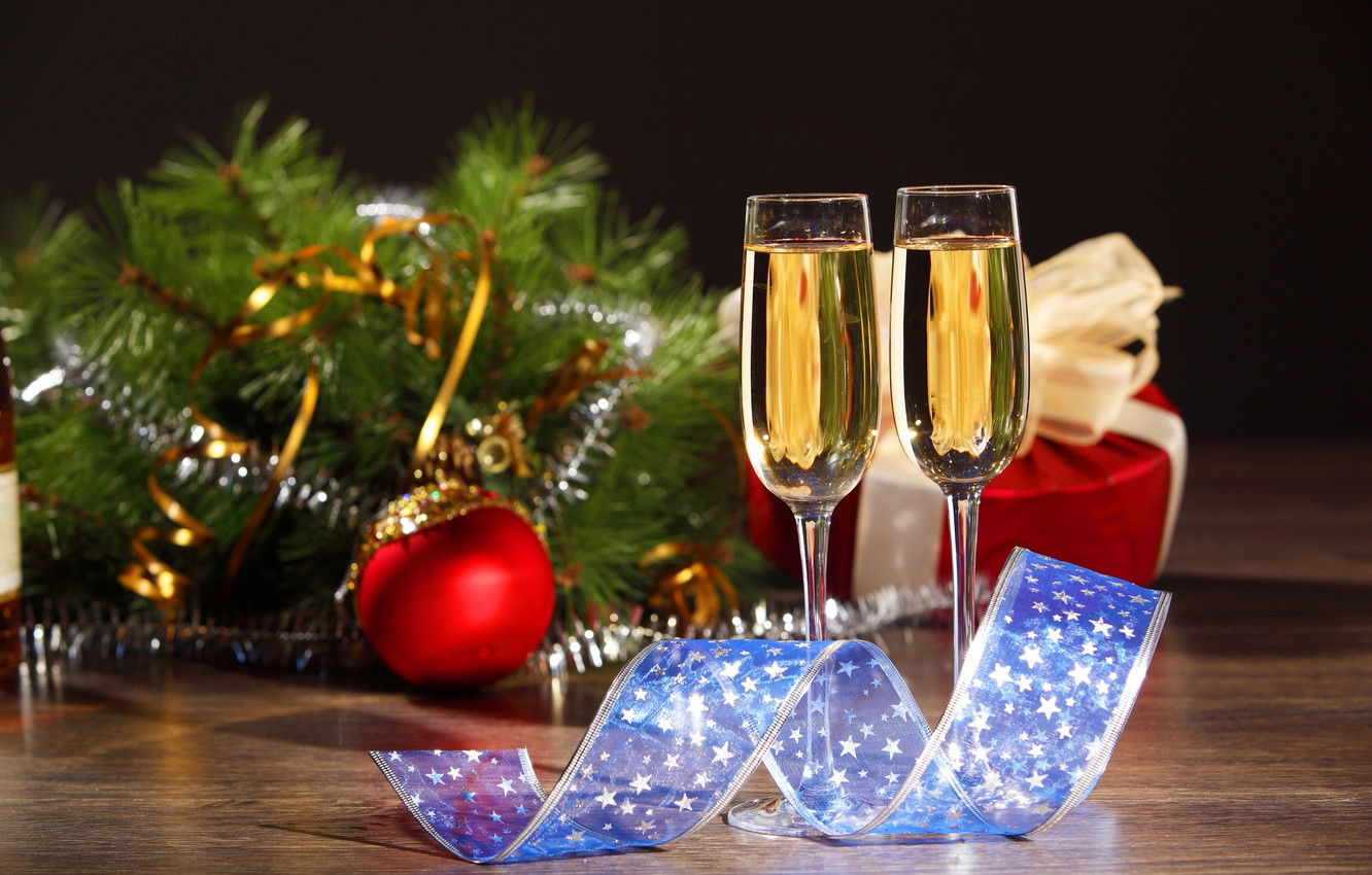 Photo wallpaper branches, box, gift, ball, glasses, tape, tree, drink, champagne, Christmas decorations