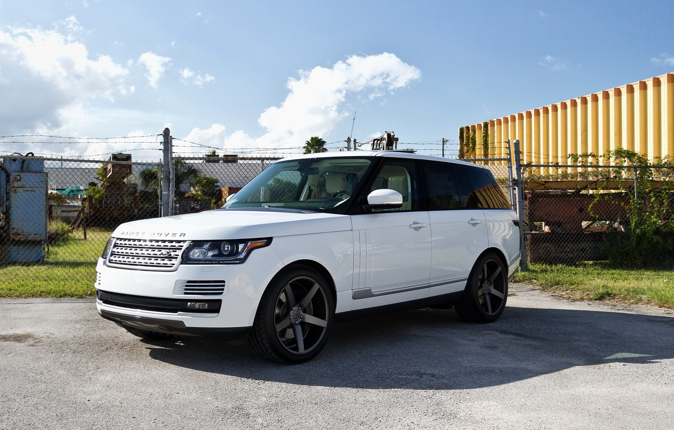 Photo wallpaper jeep, sport, white, Land Rover, Range Rover, the front