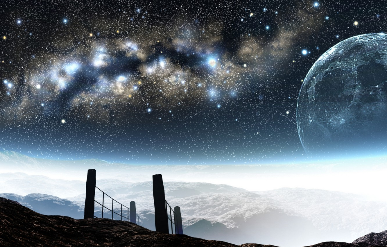 Photo wallpaper the sky, stars, mountains, night, the moon, height, art, the milky way, and-k