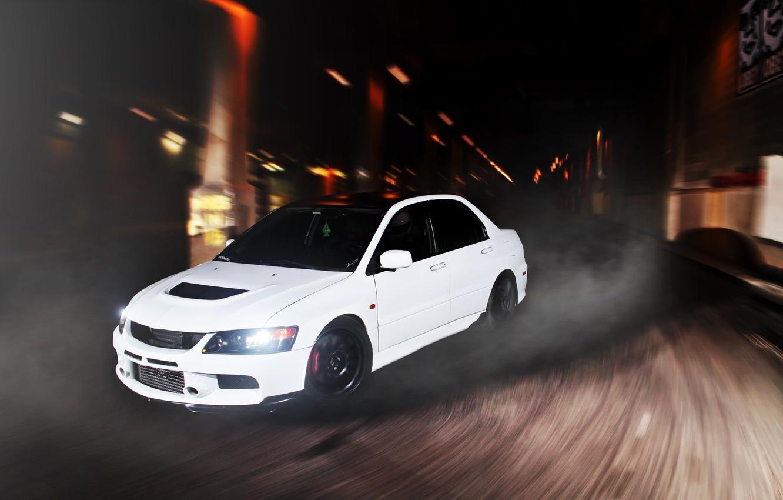 Photo wallpaper white, speed, turn, Mitsubishi, Lancer, white, Evolution, front, Mitsubishi, evolution