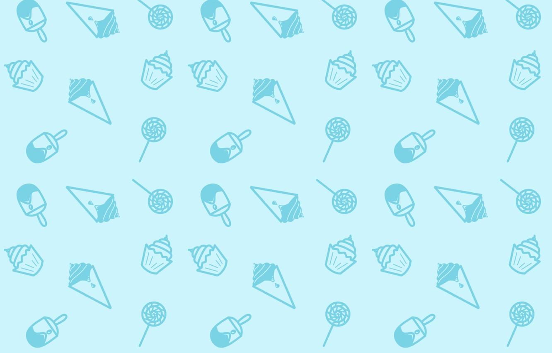 Photo wallpaper Minimalism, Blue, Candy, Sweets, Texture, Ice cream, Lollipop, Ice Cream, Seamless, Snacks, Cupcakes