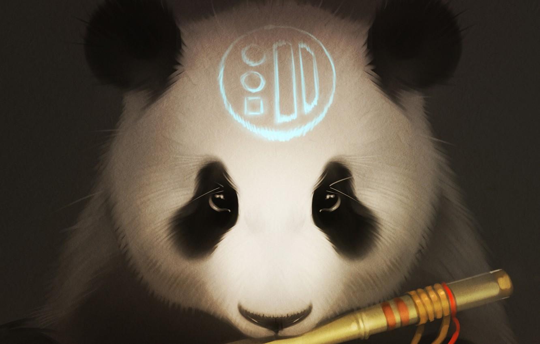 Photo wallpaper look, bear, art, Panda, flute