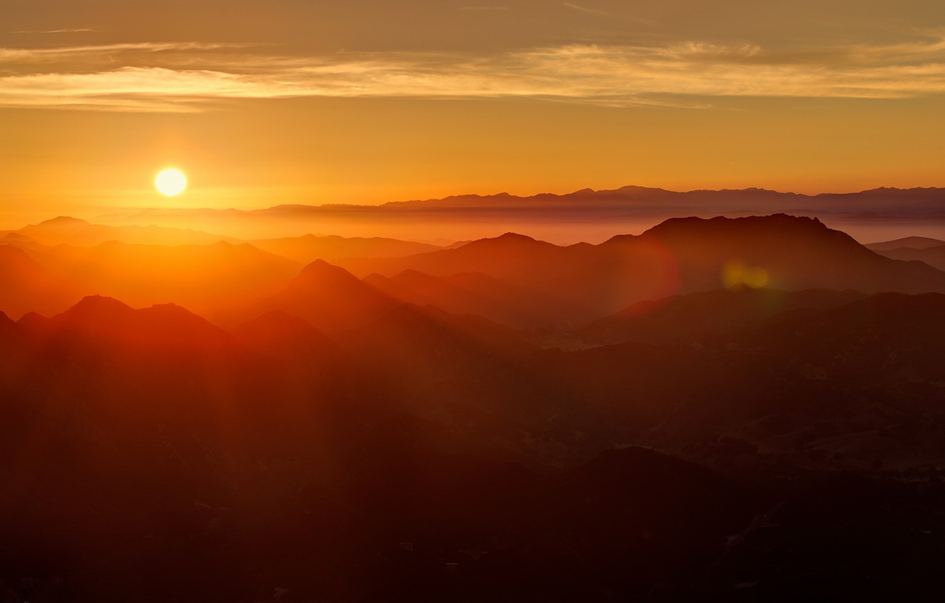 Photo wallpaper rays, mountains, dawn, sunlight, solace