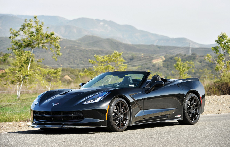 Photo wallpaper auto, black, Corvette, Chevrolet, Tuning, Stingray, HPE700