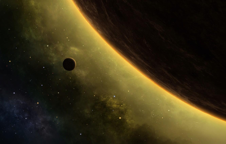 Photo wallpaper planet, stars, nebula