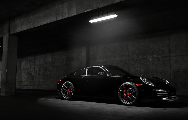 Photo wallpaper car, Porsche, black, night, Carrera S