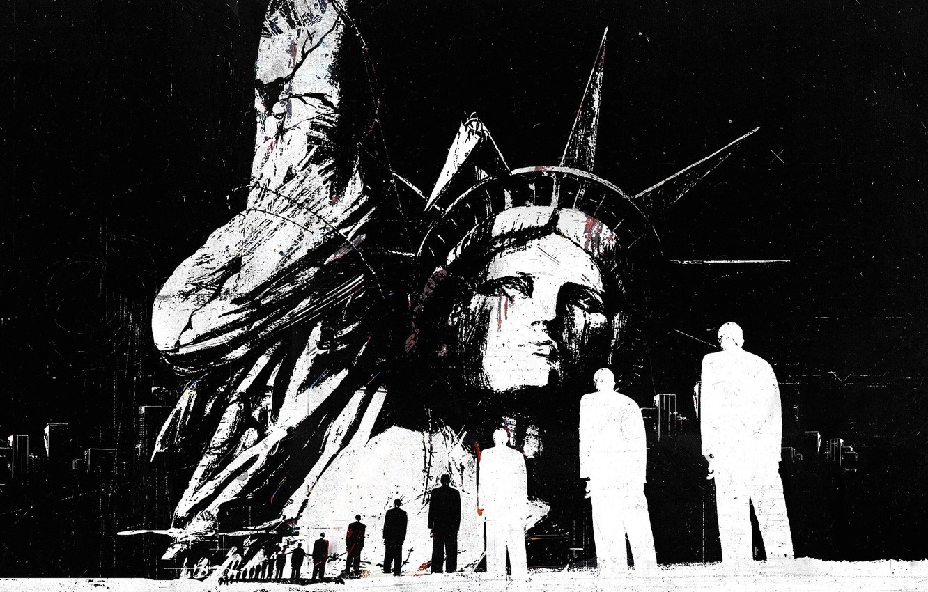 Photo wallpaper people, building, abstract, black and white, USA, America, grunge, statue of liberty, grunge, The statue …