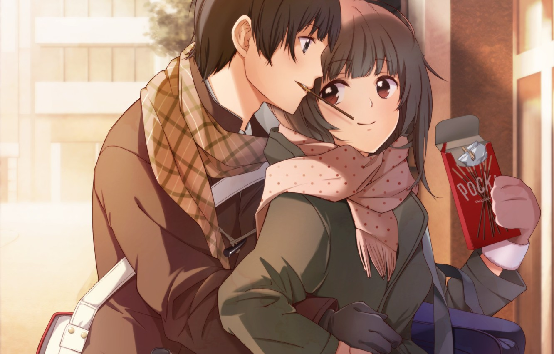 Photo wallpaper girl, the city, home, anime, scarf, art, hugs, pair, guy, bag, two, taccomm