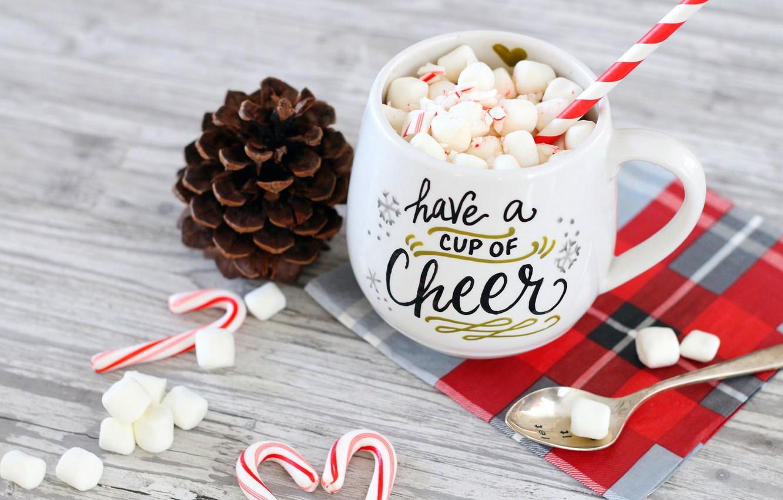Photo wallpaper winter, coffee, milk, Cup, winter, cup, cocoa, holiday, coffee, cocoa, milk