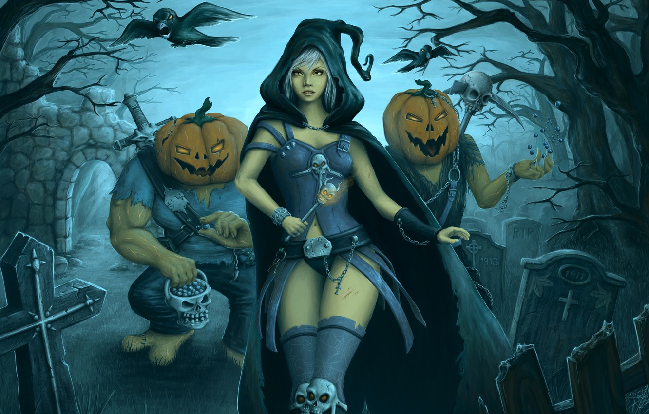 Photo wallpaper girl, night, the moon, monsters, cemetery, Halloween