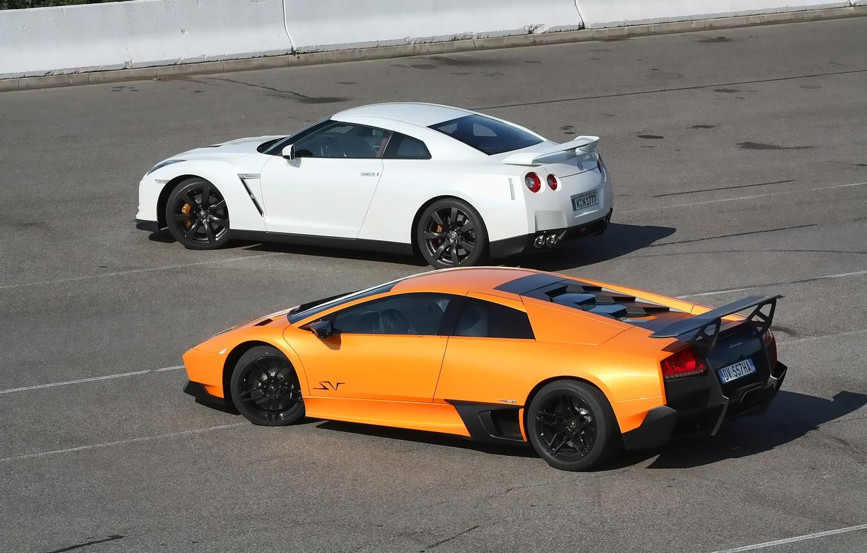 Photo wallpaper Lamborghini, Nissan, GT-R, Murcielago, Supercar, Supercars, SV LP670-4