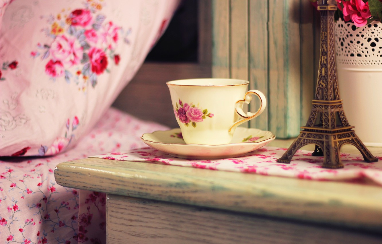 Photo wallpaper flowers, house, tea, France, coffee, bouquet, Cup, Eiffel tower, drink, France, flowers, cup, home, drink, …