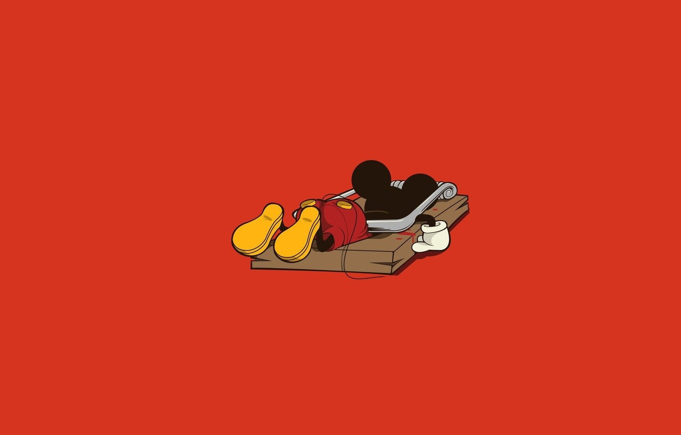 Photo wallpaper minimalism, art, red, Mickey mouse, Mickey mouse