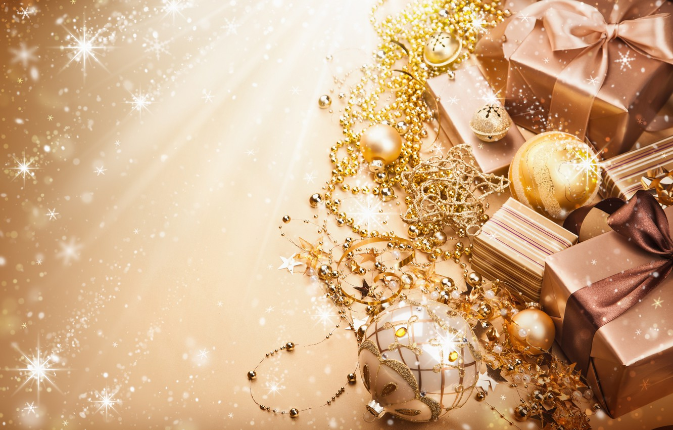 Photo wallpaper balls, tape, gold, balls, New Year, Christmas, gifts, the scenery, beads, Christmas, holidays, box, New …