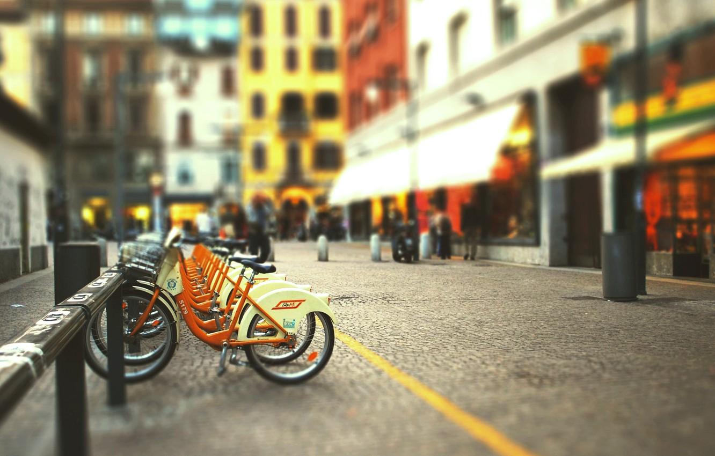 Photo wallpaper bike, the city, street, blur, tilt-shift, blurred background, bike Parking