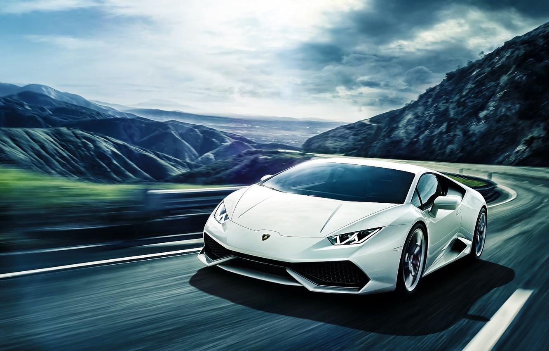 Photo wallpaper Lamborghini, Front, Mountain, White, Road, Supercar, Huracan, LP640-4