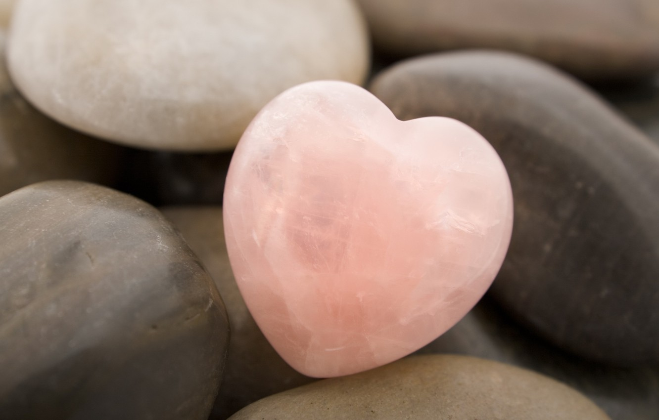 Photo wallpaper pink, heart, Stone
