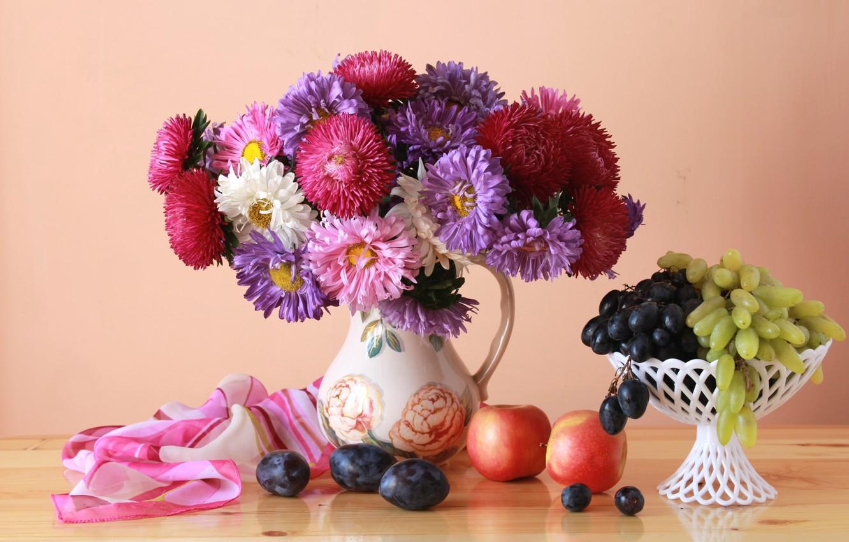 Photo wallpaper apples, bouquet, grapes, plum, asters