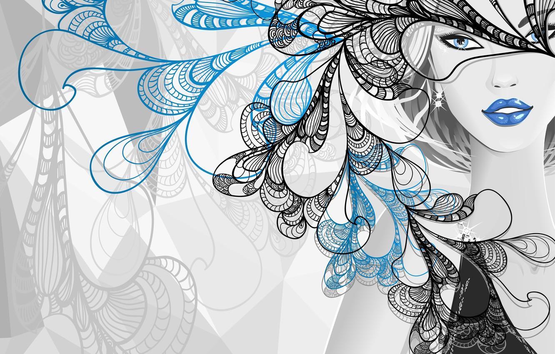 Photo wallpaper look, girl, style, vector, blue eyes