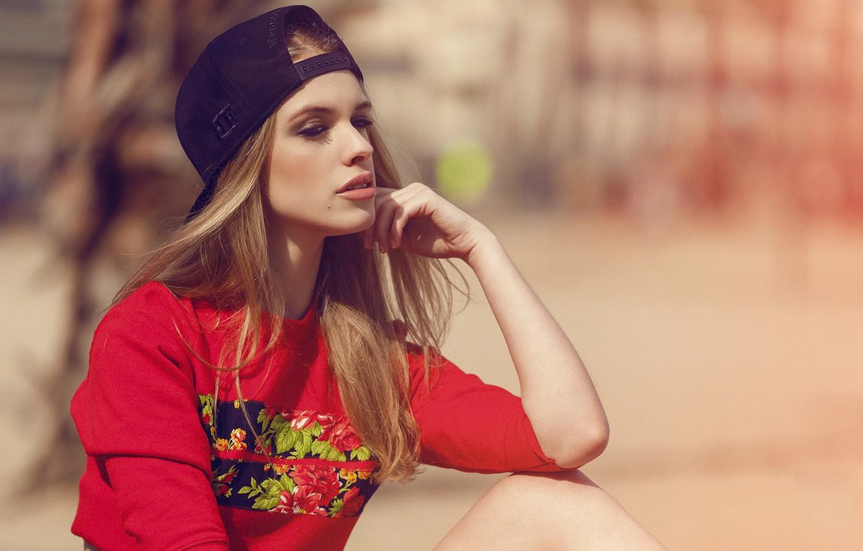 Photo wallpaper Girl, Red, Beautiful, Model, Beach, Sun, Female, Beauty, Eyes, Blonde, Barcelona, Summer, Sea, Fashion, Glamour, …