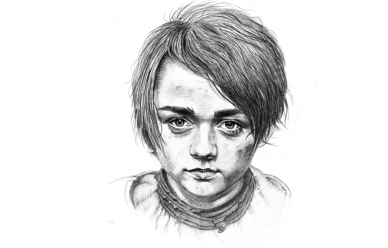 Photo wallpaper figure, pencil, Arya Stark, Maisie Williams