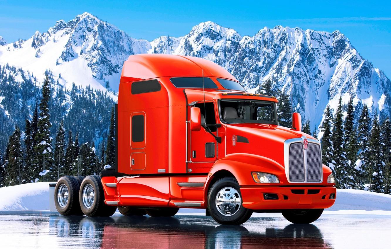 Photo wallpaper landscape, mountains, truck, tractor, kenworth