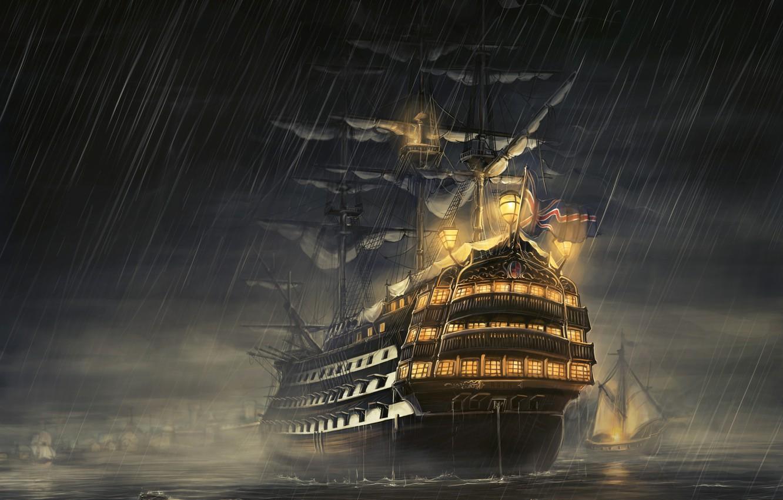 Photo wallpaper sea, night, rain, ship, sailboat, rain, frigate