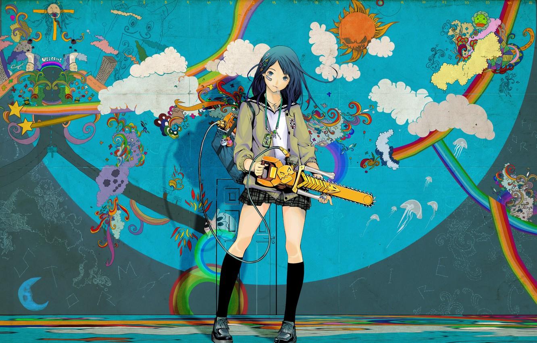 Photo wallpaper girl, kawaii, colorful