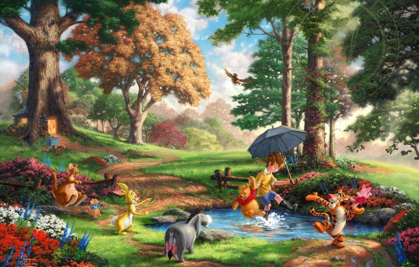 Winnie The Pooh Forest Background: Wallpaper Forest, Trees, Flowers, Glade, Toys, Rabbit, Art