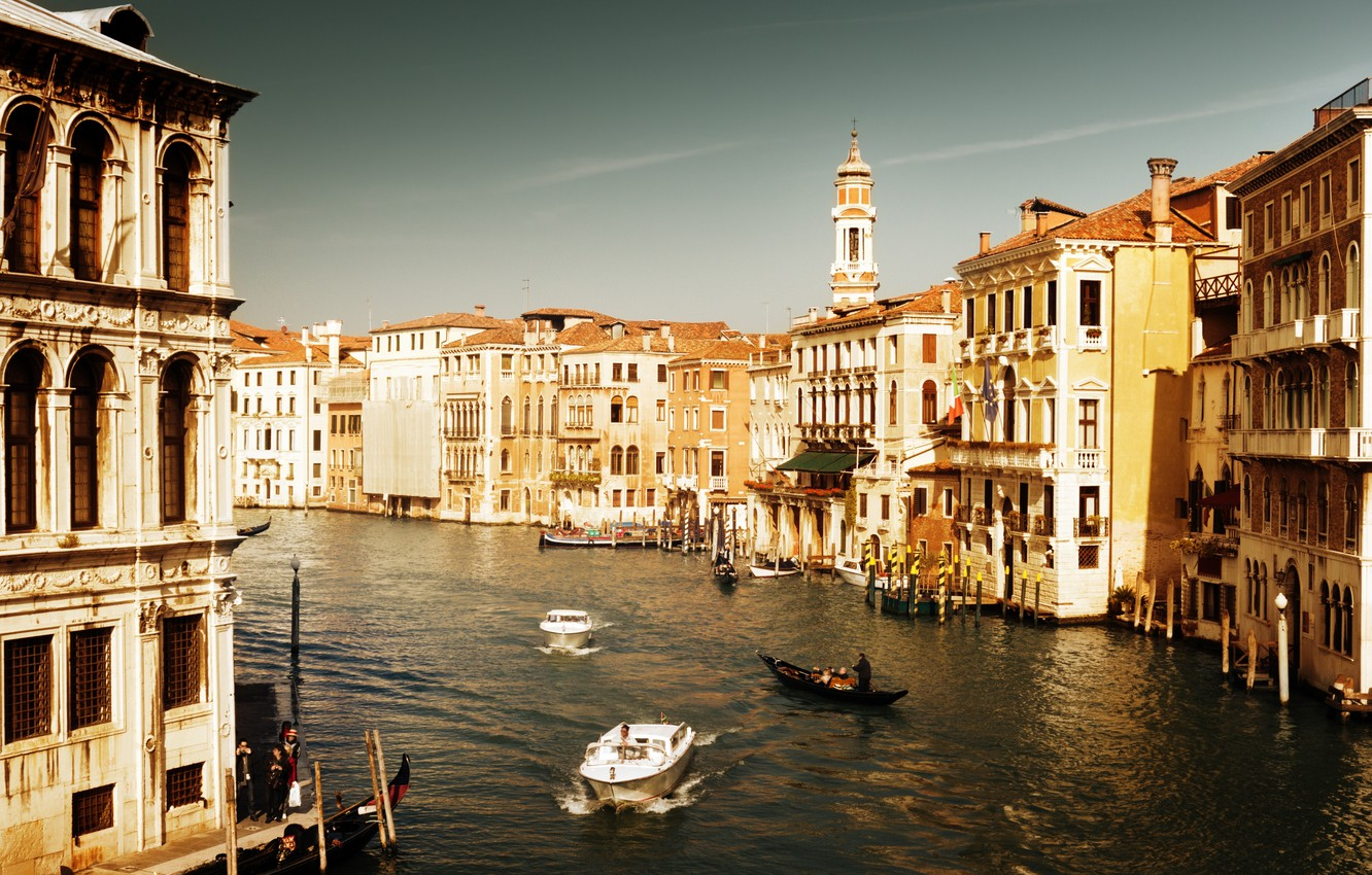 Photo wallpaper sea, water, people, home, boats, Italy, Venice, channel, architecture, Italy, gondola, Venice