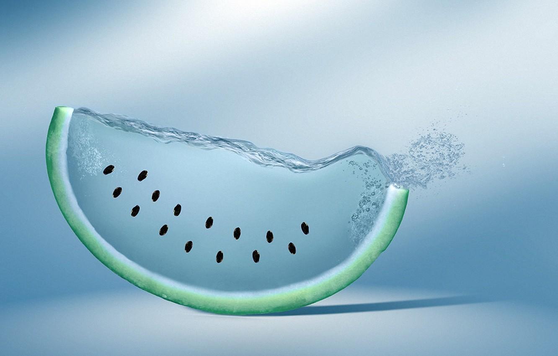 Photo wallpaper water, creative, watermelon, seeds, watermelon