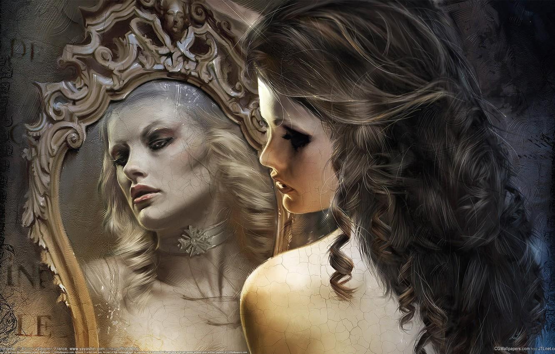 Photo wallpaper girl, cracked, reflection, mirror, bruno wagner, vintage