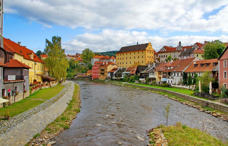 Photo wallpaper river, stones, street, home, Czech Republic, architecture, krumlov., Ceskiy