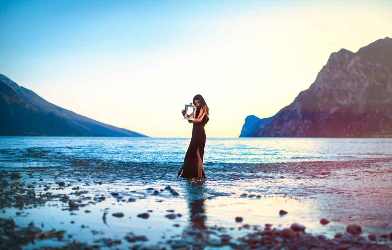 Photo wallpaper girl, mountains, lake, rocks, candle